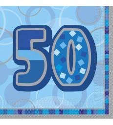 16 BLUE GLITZ LUNCH NAPKINS -50