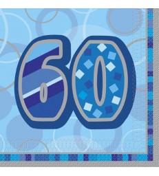 16 BLUE GLITZ LUNCH NAPKINS -60