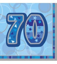 16 BLUE GLITZ LUNCH NAPKINS -70