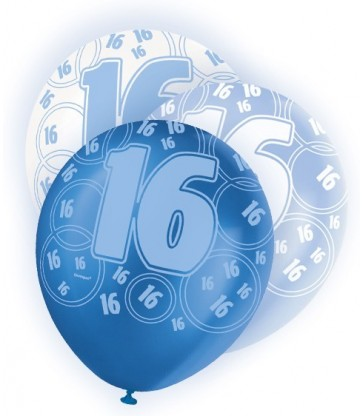6 12'' BLUE GLITZ BALLOONS -16