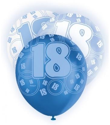 6 12'' BLUE GLITZ BALLOONS -18