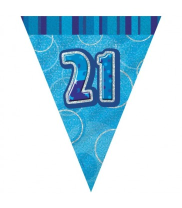 BLUE GLITZ 21 FLAG BANNER 9FT