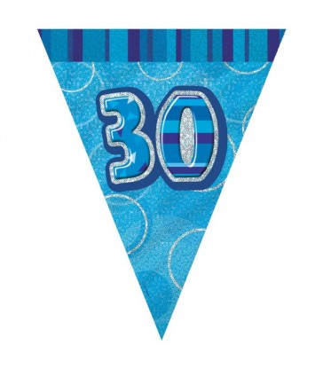 BLUE GLITZ 30 FLAG BANNER 9FT