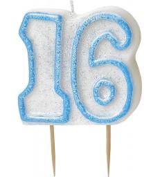 GLITZ BLUE NUMERAL CANDLE-16