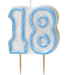 GLITZ BLUE NUMERAL CANDLE-18