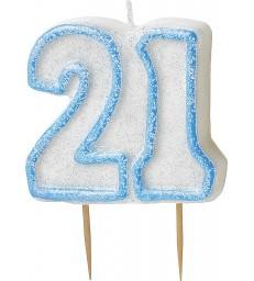 GLITZ BLUE NUMERAL CANDLE-21