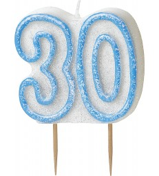 GLITZ BLUE NUMERAL CANDLE-30