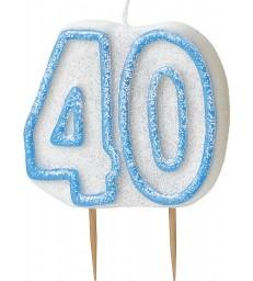GLITZ BLUE NUMERAL CANDLE-40
