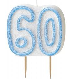 GLITZ BLUE NUMERAL CANDLE-60
