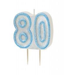 GLITZ BLUE NUMERAL CANDLE-80