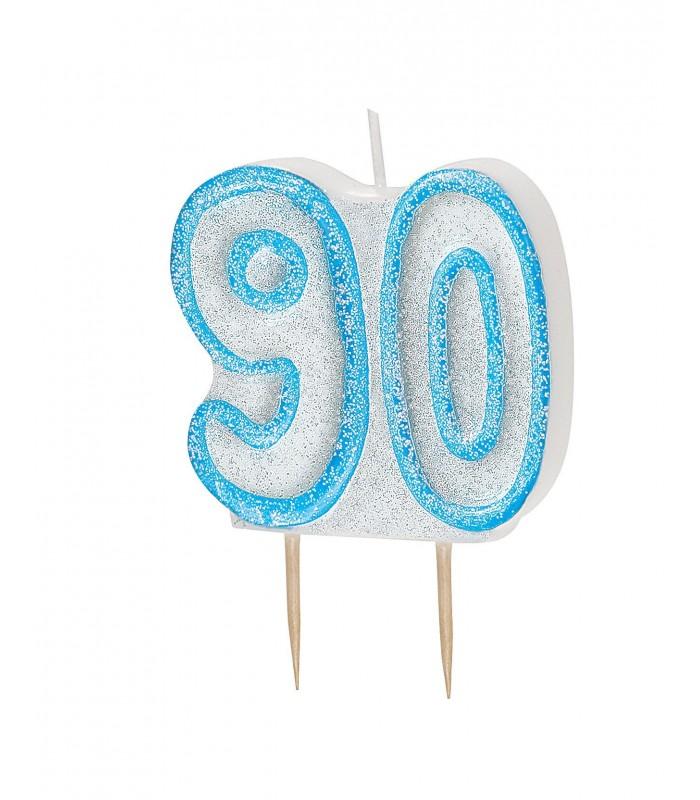 GLITZ BLUE NUMERAL CANDLE-90