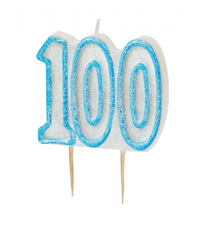 GLITZ BLUE NUMERAL CANDLE-100