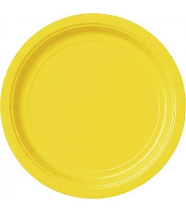 20 SUNFLOWER YELLOW 7'' PLATES