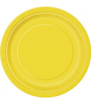 "16 SUNFLOWER YELLOW 9"" PLATES"