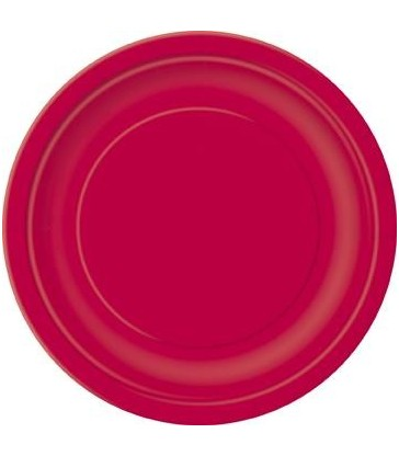 "16 RUBY RED 9"" PLATES"