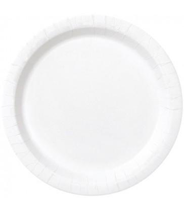 20 BRIGHT WHITE 7'' PLATES