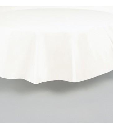 WHITE ROUND TABLECOVER 84 DIA