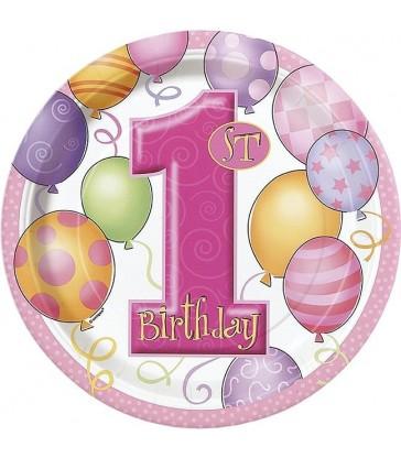 "8 FIRST BIRTHDAY PINK 9"" PLATES"