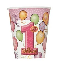 8 FIRST BIRTHDAY PINK 9 OZ CUPS