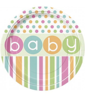 """8 PASTEL BABY SHOWER 7"""" PLATES"""