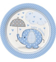 "8 UMBRELLAPHANTS BLUE 7"" PLATES"
