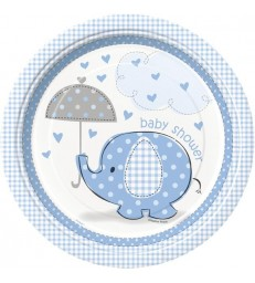 "8 UMBRELLAPHANTS BLUE 9"" PLATES"