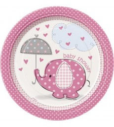 "8 UMBRELLAPHANTS PINK 7"" PLATES"