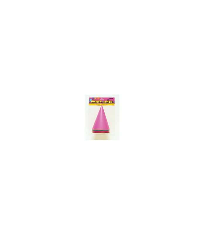 8 PARTY HATS-ASSORTED COLOURS
