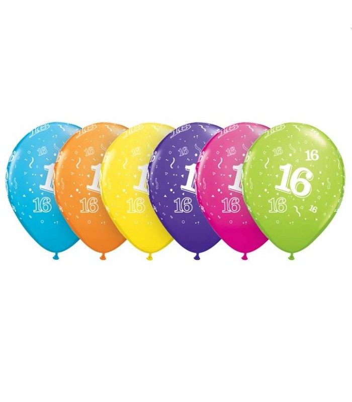 """Age 16 Pack of 6 11"""" assorted coloured balloons"""