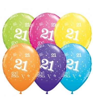 "Age 21 Pack of 6 11"" assorted coloured balloons"