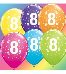"Age 8 Pack of 6 11"" assorted coloured balloons"