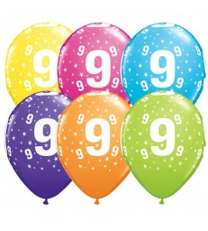 "Age 9 Pack of 6 11"" assorted coloured balloons"