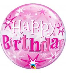 "Birthday Pink Starburst Sparkle 22"" balloon"