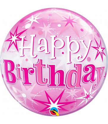 "Birthday Pink Starburst Sparkle 22"" balloon"