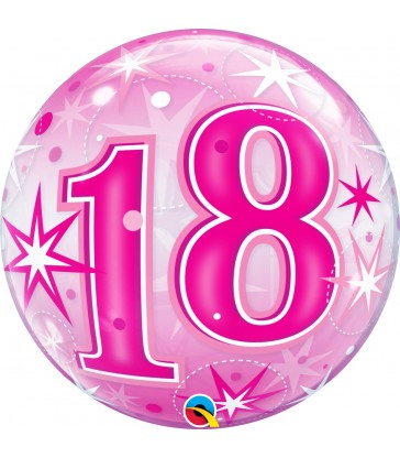 "18 Pink Starburst Sparkle 22"" balloon"