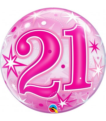 "21 Pink Starburst Sparkle 22"" balloon"