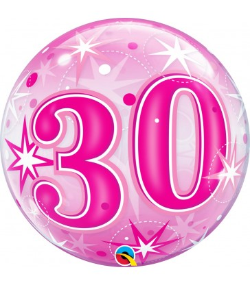 "30 Pink Starburst Sparkle 22"" balloon"