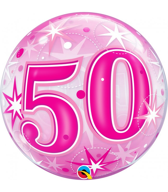 "50 Pink Starburst Sparkle 22"" balloon"