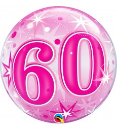 "60 Pink Starburst Sparkle 22"" balloon"