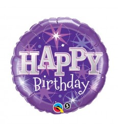 "Birthday Purple Sparkle 18"" balloon"