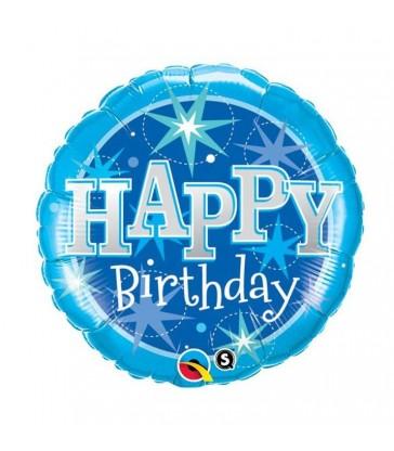 "Birthday Blue Sparkle 18"" balloon"