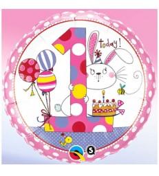 "Rachel Ellen - Age 1 Bunny Polka Dots 18"" balloon"