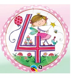 "Rachel Ellen - Age 4 Fairy Polka Dots 18"" balloon"