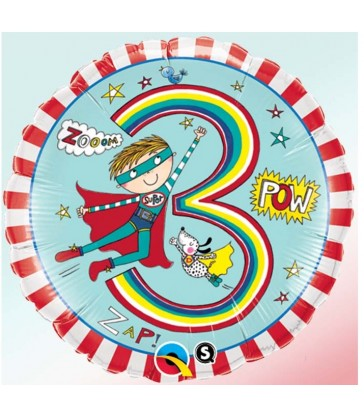 "Rachel Ellen - Age 3 Super Hero Stripes 18"" balloon"