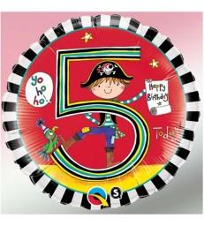 "Rachel Ellen - Age 5 Pirate Stripes 18"" balloon"