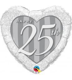 "Happy 25th Damask Heart 18"" balloon"