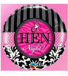 "Hen Night Damask & Stripes 18"" balloon"