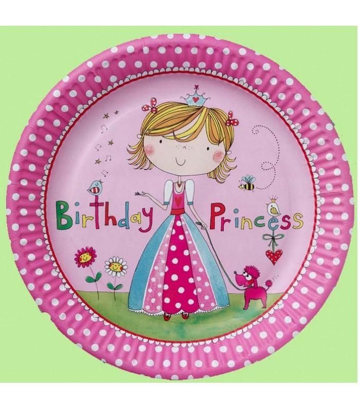 Princess 8 Party Paper Plates