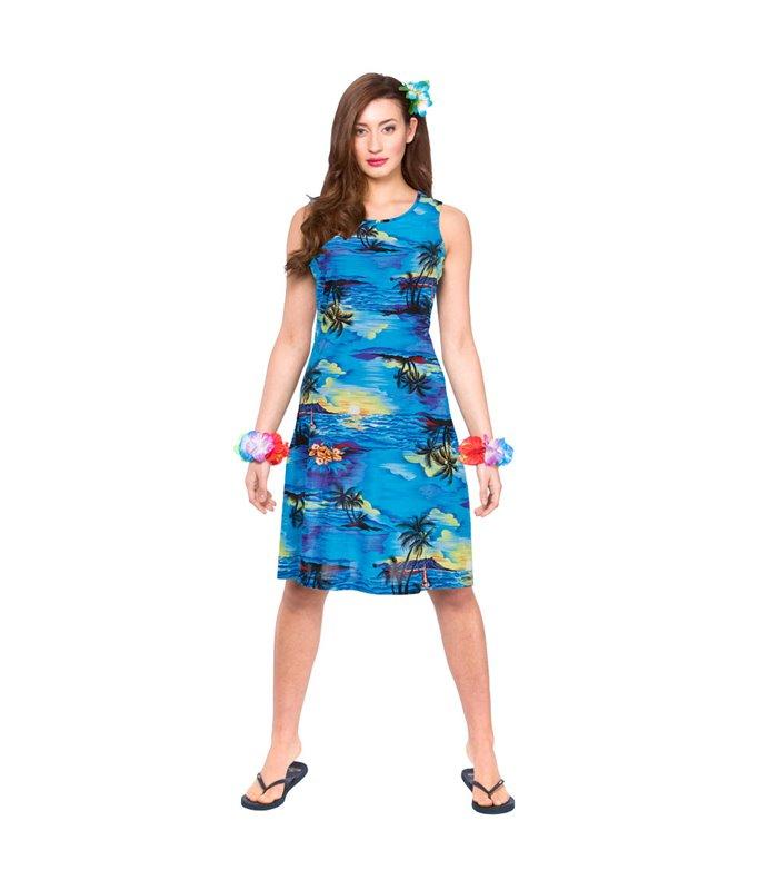 Hawaii Dress - Short Blue Palm (L)