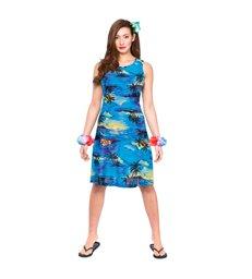 Hawaii Dress - Short Blue Palm (S)~